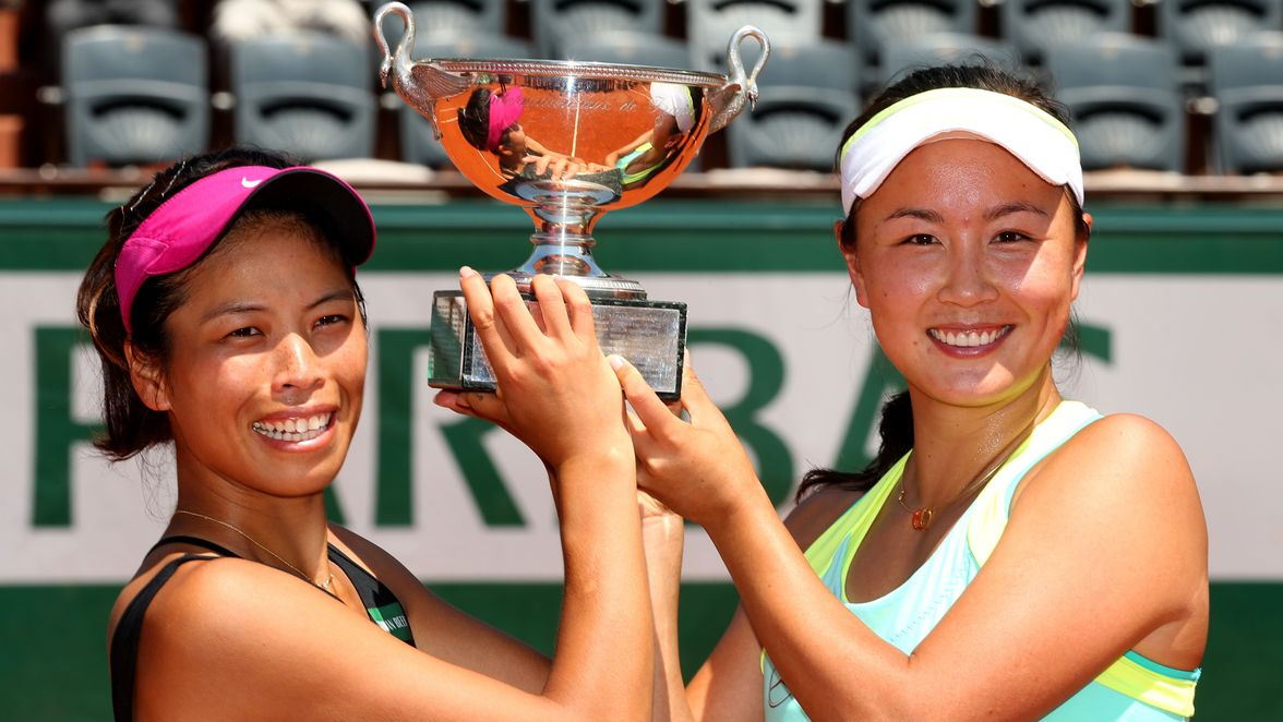 Hsieh Su-wei and Peng Shuai hoisted the 2014 trophy after defeating Errani and Vinci in the final. It was their second Grand Slam women's doubles title together, following 2013 Wimbledon.