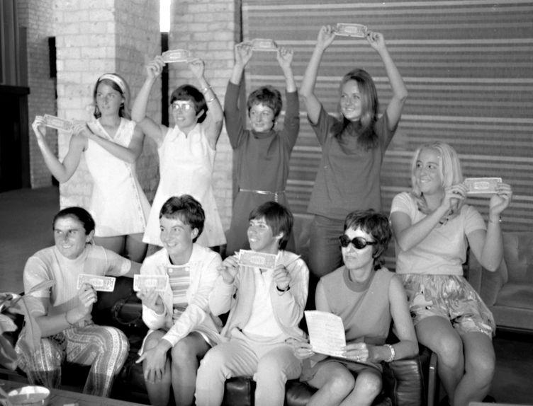 Clockwise from top left: Valerie Ziegenfuss, Billie Jean King, Nancy Richey, Peaches Bartkowicz, Kristy Pigeon, Gladys Heldman, Rosie Casals, Kerry Melville Reid, Judy Dalton. Not pictured: Julie Heldman